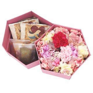 【母の日限定・数量限定】マザーズブレンド ドリップコーヒー5個・焼き菓子3個セット(プリザーブドフラワー2段BOX入り)