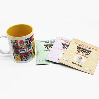 【オリジナル商品】アフリカンマグカップとFRUITS FLAVOR ドリップコーヒー15gセット