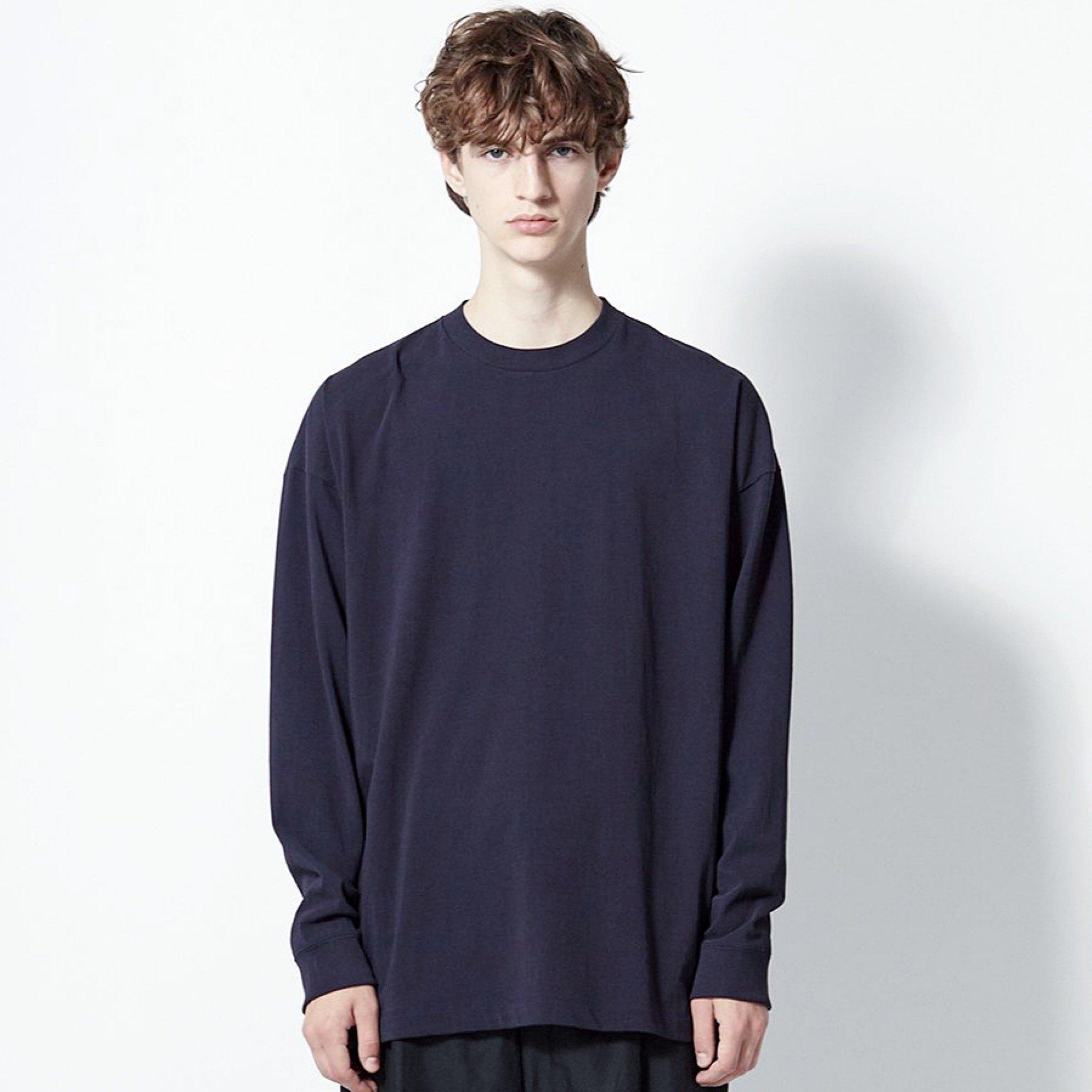 【ATON】<br> フレスカ プレート オーバーサイズ <br>ロングスリーブ Tシャツ