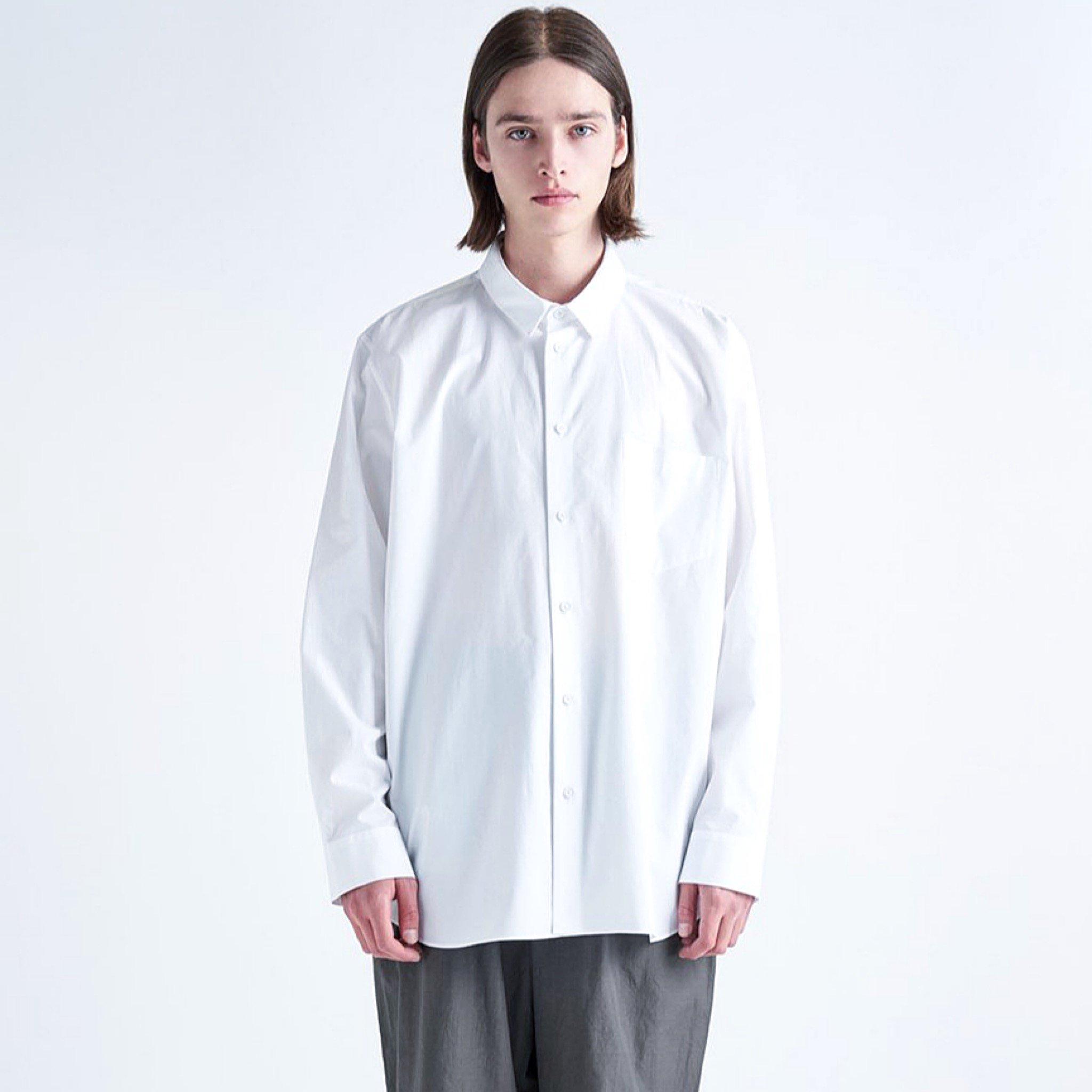 【ATON】<br> オーバーサイズドシャツ ギザブロード