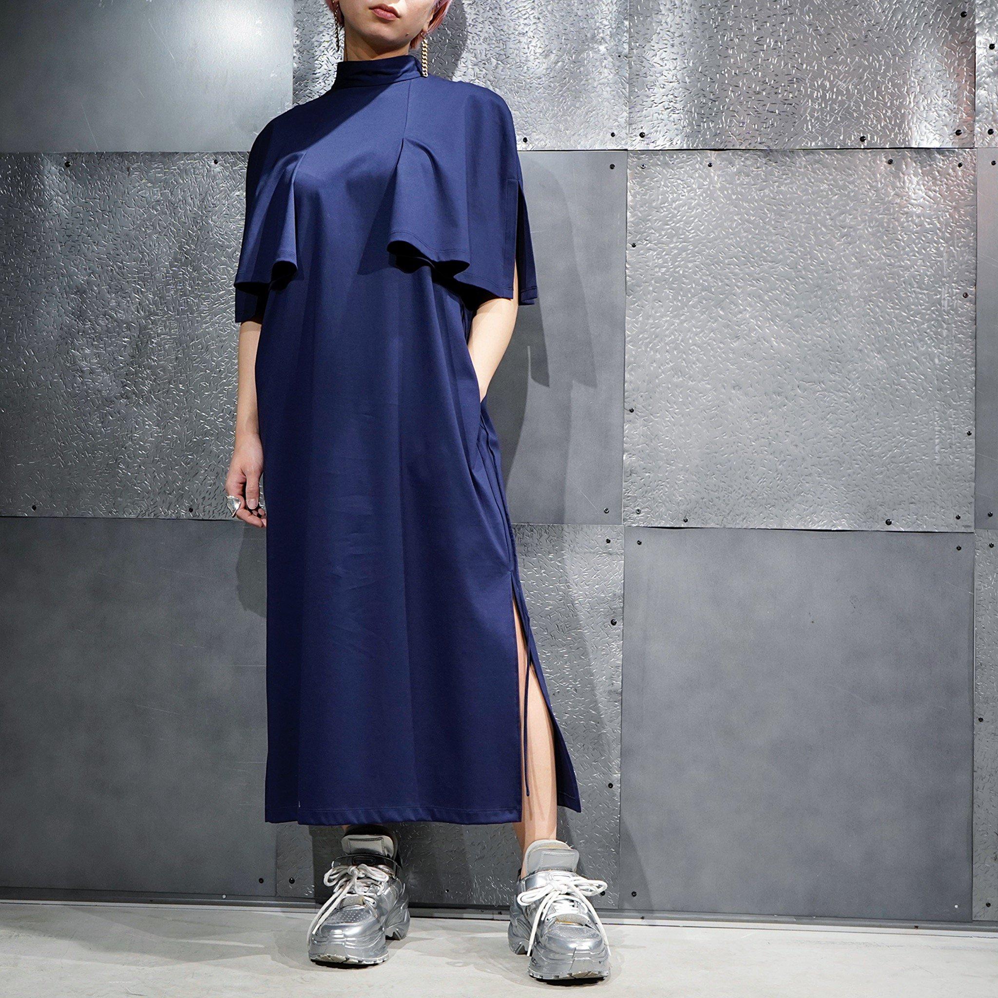 【08sircus】<br>シルキーシャイン<br> インターロックジャージーケープドレス