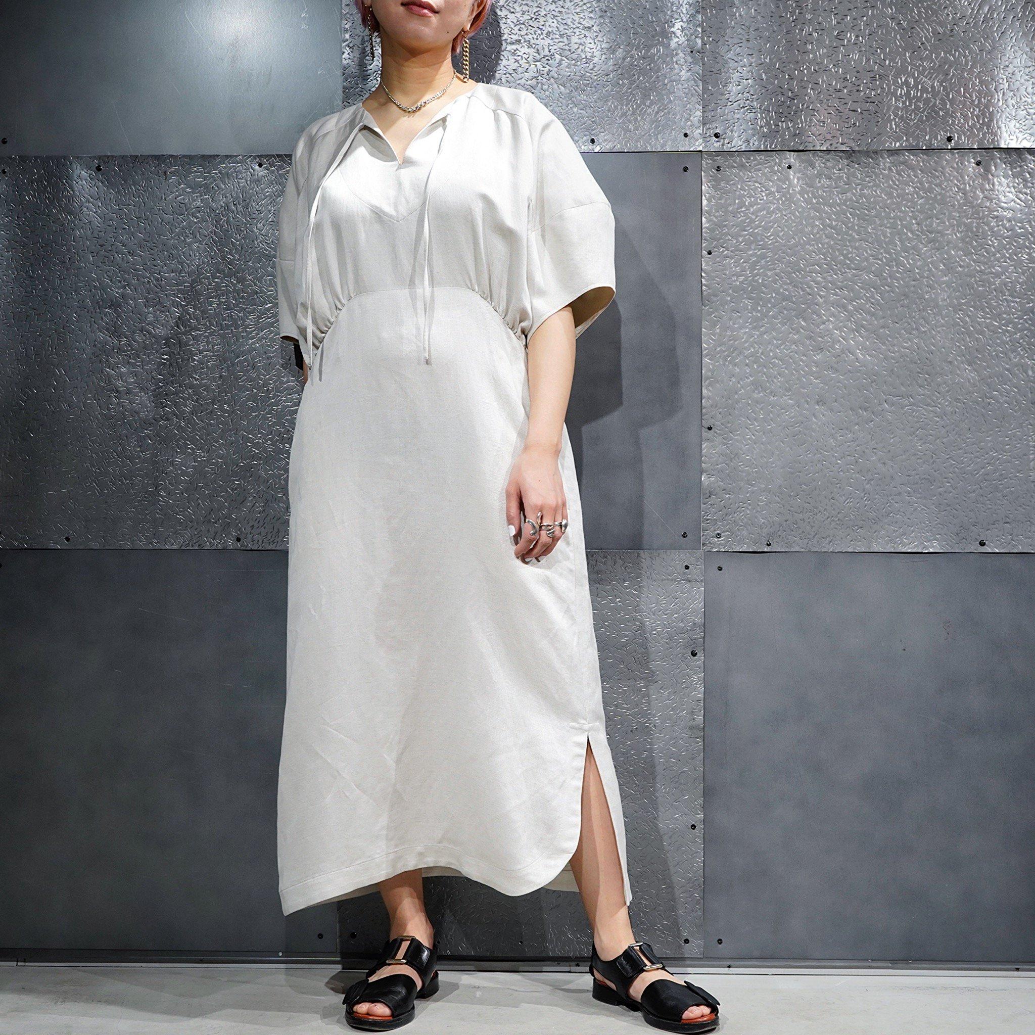 【08sircus】<br>リネンツイルキーネックドレス
