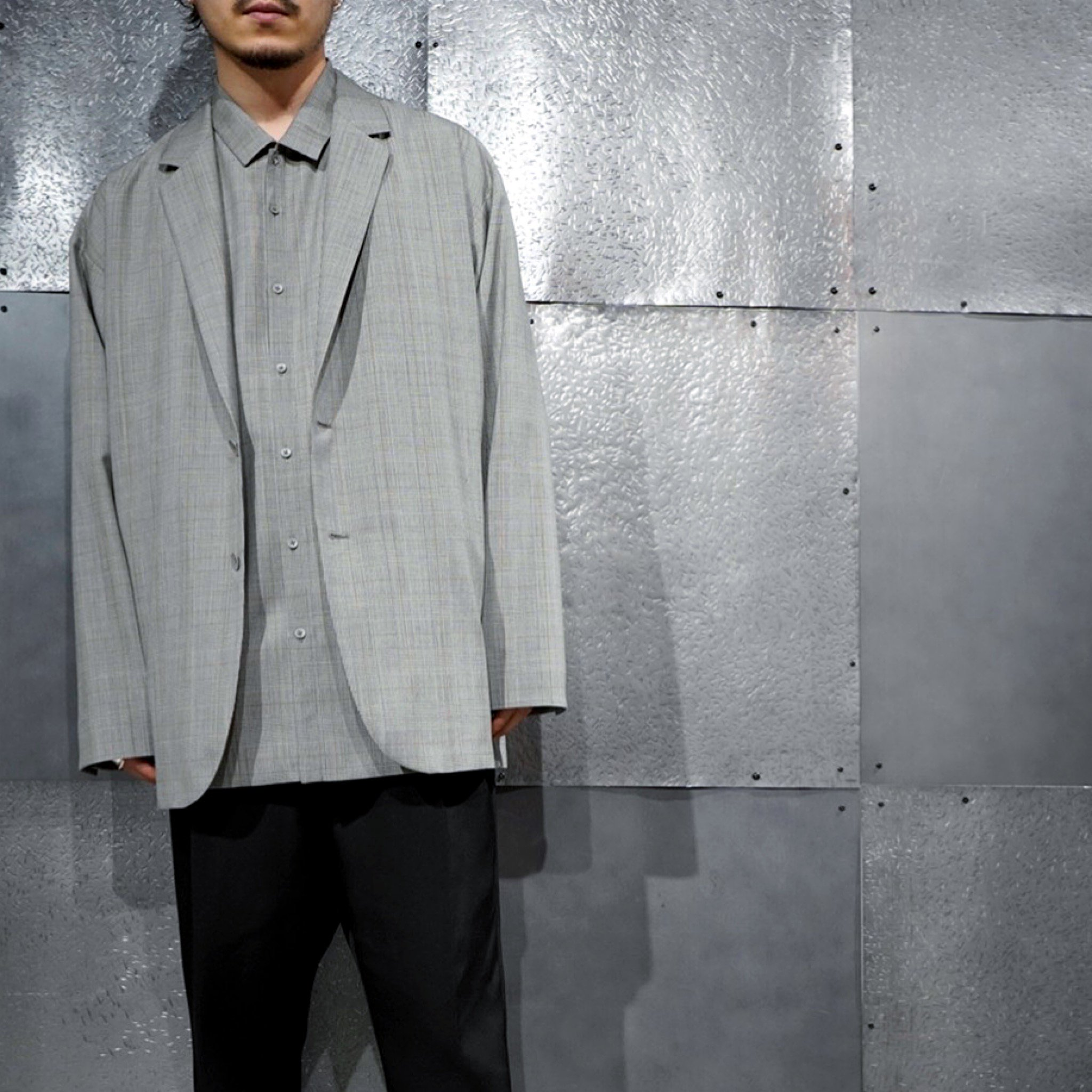 【ATON】<br>トロピカルウール オーバーサイズジャケット