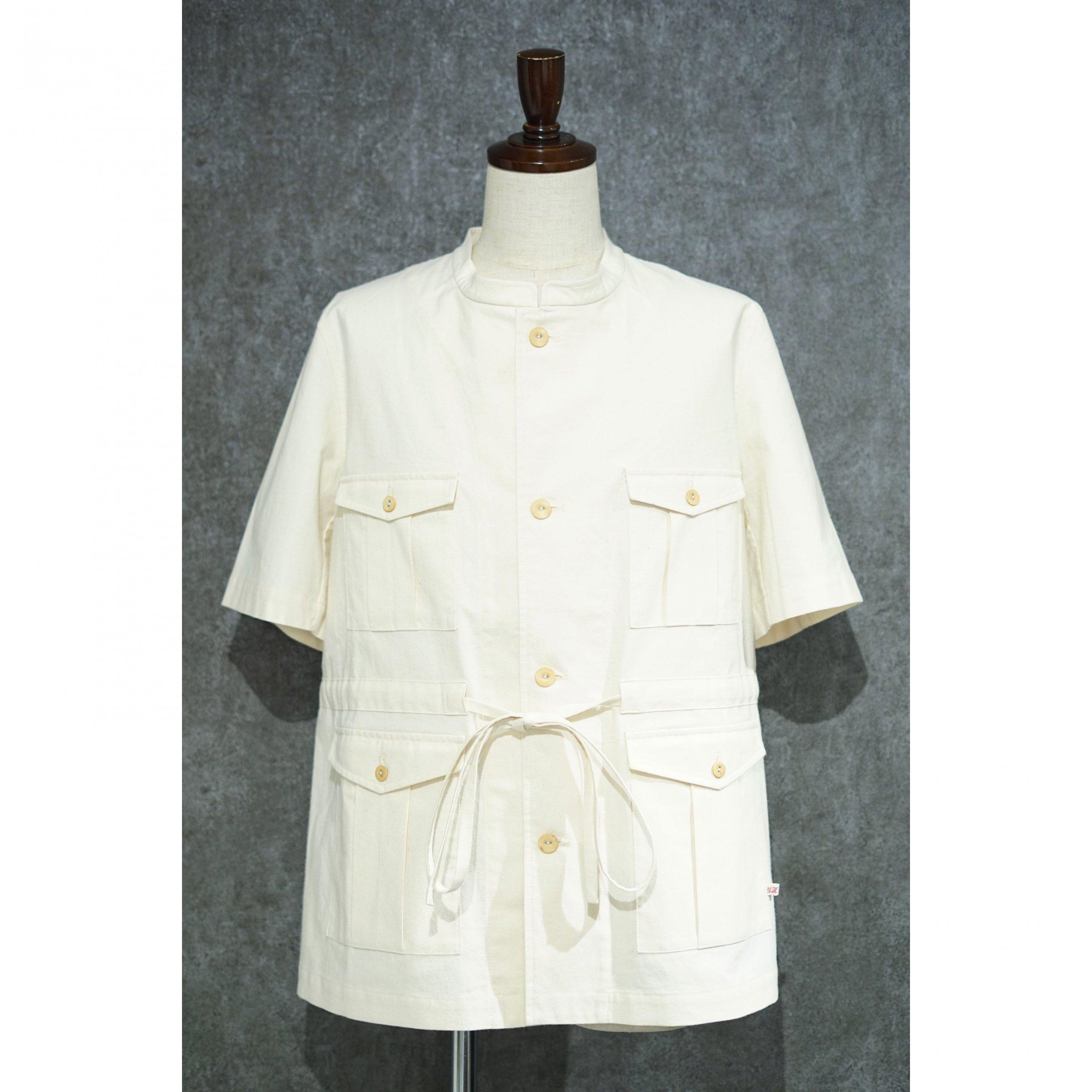 【FRANK LEDER】<br>ビンテージベッドシーツ<br>ドローストリングスショートスリーブシャツ