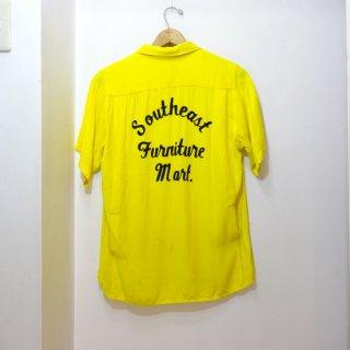 60's King Louie Rayon Bowling Shirts size M 黄×黒