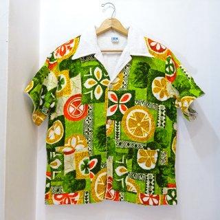 70's LAGUNA トロピカルフラワー柄 ビーチシャツ size L