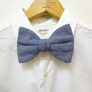 Dead Stock Vintage Gingham Check Bow Tie Navy