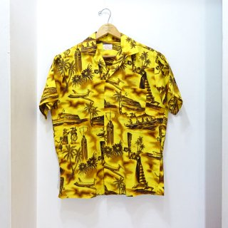50's Fashions of Hawaii Cotton Hawaiian Shirts Yellow size M