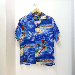 50's IOLANI Rayon Hawaiian Shirts size about M 縮緬
