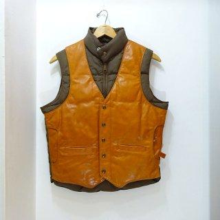 80's Schott Leather×Nylon Down Vest size 38
