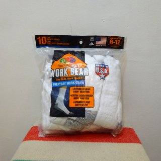 【US企画】 Fruit of the Loom Real Work Crew Socks 10Pcs Pack size US 6-12