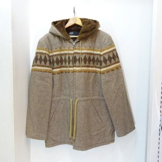 Dead Stock 70's Montgomery Ward Diamond Pattern Wool Hooded Coat size M