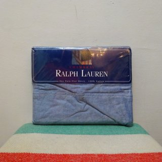 Dead Stock 90's Ralph Lauren Home Collection Blue Chambray Flat Sheet Made in U.S.A