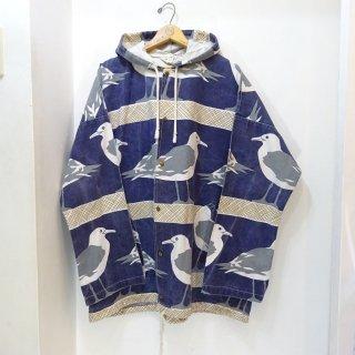 90's Michigan Rag Co. Hooded Jacket Seagull Pattern size L/XL