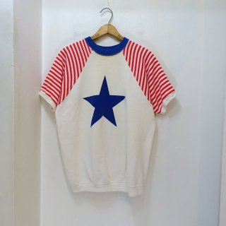 70's Star & Stripes Pattern Short Sleeve Sweat Shirts size about XL