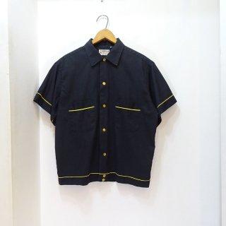 60's Hilton チェーンステッチ入り ボーリングシャツ 黒 size M