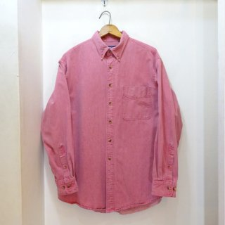 1997y LANDS' END Nantucket-Red Cotton Twill B.D Shirts size L