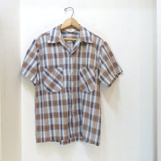 50's CAMPUS Cotton Open Collar Shirts size S