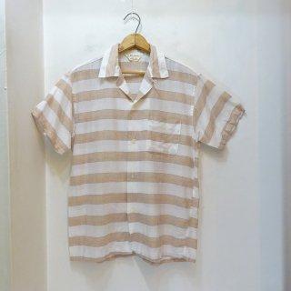 50's Block's Border Cotton Open Collar Shirts size M