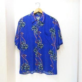 80's Reyn Spooner Coconut boy Border-Pattern Rayon Hawaiian Shirts size L