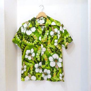 70's ROYAL HAWAIIAN Tropical Flower Pattern Lava-Cotton Hawaiian Shirts size M