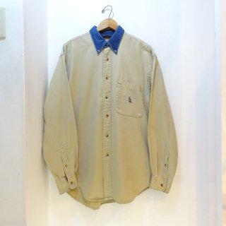 90's NAUTICA Khaki Twill × Denim B.D Shirts size M