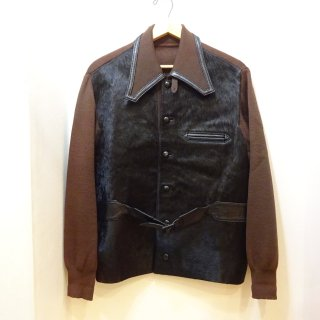 Dead Stock 70's Unknown Wool Leather Front Sports Jacket size L