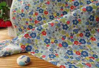イチゴ&小花の柔らかブロード・ブルー