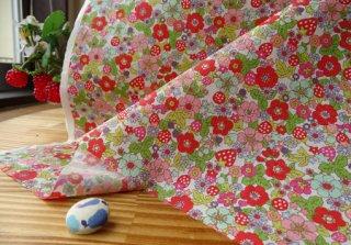 イチゴ&小花の柔らかブロード・レッド