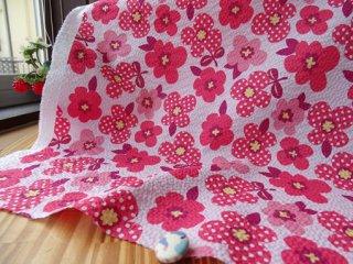 可愛いドットフラワーの柔らかリップル・ピンク×レッド