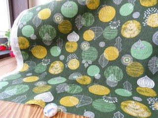 北欧リーフの綿麻リバーシブルキャンバス・カーキグリーン