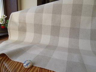 ナチュラルチェックの綿麻キャンバス・4センチ
