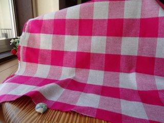 ピンク&グレーブロックのやんわり起毛ツイル