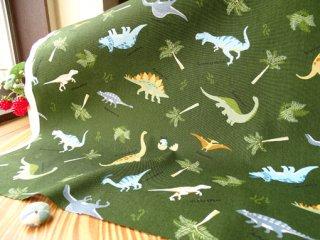 いろいろ恐竜柄柔らかコットン・カーキグリーン