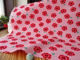 真っ赤な小花の柔らかリップル・ピンク