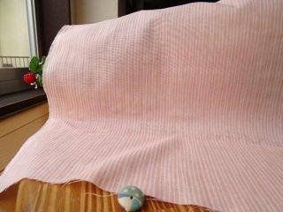 フリーラインストライプの柔らかダブルガーゼ ピンク