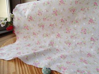 柔らか刺繍コットン フラワーブーケ・ピンク