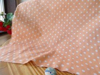 やんわり杢5ミリドット柔らかダブルガーゼ・オレンジ