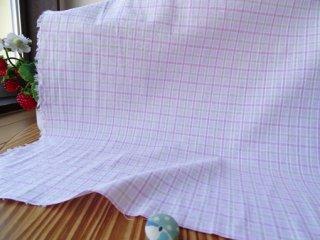 ピンク&ベージュ格子の柔らかピンクサッカー