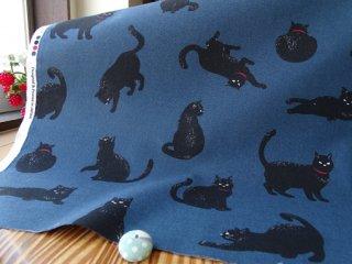 黒猫柄コットンシーチング・オーシャンネービー