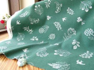 グラスフラワー&ツバメの柔らかシャツコール・グリーン