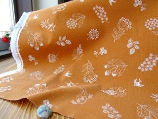 グラスフラワー&ツバメの柔らかシャツコール・レンガオレンジ