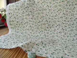 可愛い2色小花のポコポコリップル・グリーン