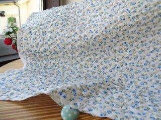可愛い2色小花のポコポコリップル・ブルー