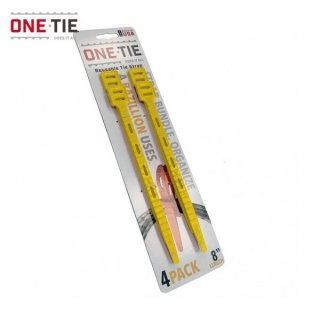 ONE-TIE 8inch (20cm) 4本パック イエロー 何度も使えるギアラッピングツール 結束バンド