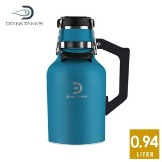 DrinkTanks 32oz (0.94L) Growler2.0 Cove ステンレススチールの真空断熱ダブルウォール構造ボトル