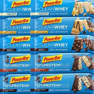 【PowerBar】52%プロテインプラス&クリーンホエイ 10本セット(52%プロテインプラス2味各2本、クリーンホエイ3味各2本)
