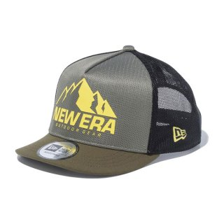 New Era(ニューエラ) 9FORTY A-Frame トラッカー ショートバイザー フルメッシュ マウンテンロゴ オリーブ × ムーンビーム メンズ・レディ