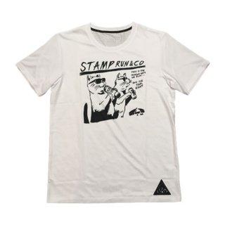 STAMP RUN&CO(スタンプ ランアンドコー) STAMP GRAPHIC RUN TEE (TWO CATS) メンズ・レディース ドライ半袖Tシャツ