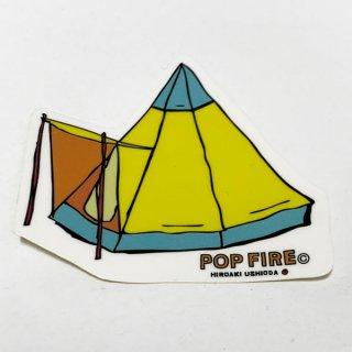 POPFIRE ポップファイヤー アウトドアステッカー ウシオダ ヒロアキ PS0018【シール かわいい 可愛い おしゃれ かっこいい ブランド アウトドア】
